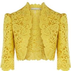 This is a bolero jacket. A bolero is a jacket (short coat). I like the bolero because it is very elegant and fancy but is a short jacket. Lace Bolero Jacket, Herve Leger Dress, Yellow Lace, Red Lace, Cotton Lace, Lace Chiffon, Fashion Outfits, Womens Fashion, Nye Outfits