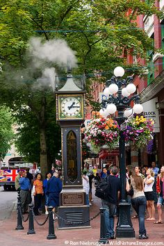 Stock Pictures of historic Steam Clock in Gastown District, Vancouver, British Columbia, Canada, by Alaska photographer Ron Niebrugge Vancouver Photos, Vancouver Bc Canada, Vancouver Island, Downtown Vancouver, Oh The Places You'll Go, Places To Travel, Places To Visit, O Canada, Canada Travel