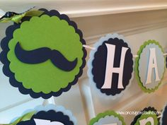 Mustache Bash Birthday Banner Little Man Birthday Party Decor  by OnceUponATwineDesign