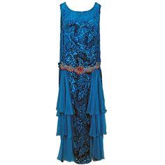 Dance dress, 1920s. Royal blue voided silk velvet with four panels of silk chiffon on skirt. Metallic floral appliqués.