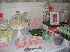Baptism Candy Bar - Ginger bread cookies by Yvette Crawley. White Chocolate pops dipped in pink crystals.