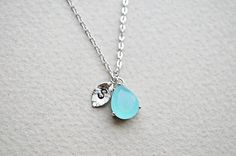 Personalized Mint blue necklace in silver Initial by Brillants