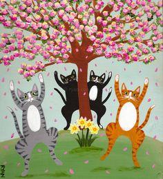 Celebration of Spring Original Cat Folk Art Painting by KilkennycatArt