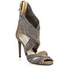 Valentina Carrano Claudine Leather & Lurex Ankle-Tie Pumps