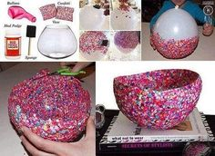 Diy Glitter bowl.                                        Perfect for who loves some glitter in there lifes