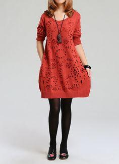 Orange Red sweater dress knitwear cotton dress por Showcottonstyle