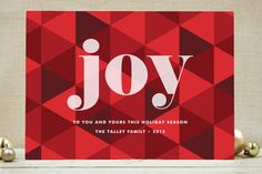 Joy Geometric Holiday Card. Love the simplicity & background pattern!