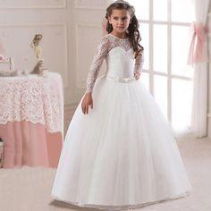 e23c53e07dc Children s Clothing Girls Long Sleeve Dress Bowknots Children Wedding Dress  Formal Dress Langarm Kleid
