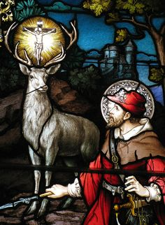 The Conversion of St Hubert, a Franz Mayer stained-glass in St Patrick Basilica, Ottawa, Canada