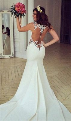 Elegant Sheer Scoop Neck White Mermaid Wedding Dresses 2016 Lace Applique Backless Satin Wedding Dresses Bridal
