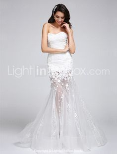 2017 Trumpet / Mermaid Wedding Dress Floor-length Sweetheart Lace / Organza with Flower / Lace 2017 - $129.99