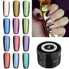 12 Colors Magic Mirror Chrome Effect Metallic Powder Set Nail Art Additive Pigment Sliver