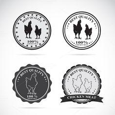 Set of vector chicken labels @creativework247