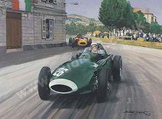 Stirling Moss, Vanwall, 1957 Grand Prix of Pescara - Motorsport art print by Michael Turner