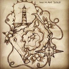 Lighthouse / Compass tattoo sketch by - Ranz