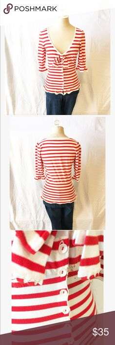 Anthropologie Moth Red Sailor Top Fitted, button up, removable bow, 3/4 sleeves, flare and the bottom and on sleeves, small brown spots below bow- bow covers it up so its hard to see Anthropologie Tops Tees - Short Sleeve