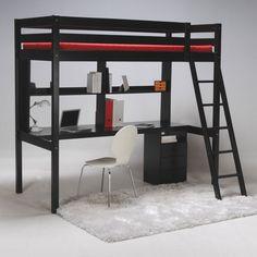 Lit Mezzanine DIAGONAL Noir et Blanc 90x190 cm prix promo