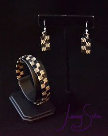 Checker bangle and earrings in black and matte silver. #jewelry by Jenny Schu