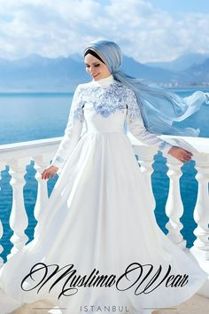 Muslima Wear 2018 Sky Flower Dress With Oriental Pattern Embroidery Color White Code