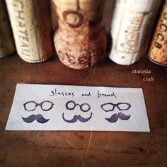 ▲メガネとおひげのコルクはんこ5コset▲