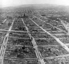 Photographs of 110 yrs.ago:Detail of the panorama photograph of a ruined San Francisco, viewed from the Lawrence Captive Airship on May what looks like the State capitol building in foreground,maybe that's city hall,unsure. San Francisco City, San Francisco California, San Francisco Earthquake, Isle Of Dogs, California History, World Trade Center, Cities, Historical Photos, Old Photos