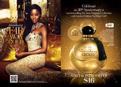 Escape into a golden dream.This scent is inspired by the original Far Away, with enhanced oriental and floral notes. Experience the long lasting sophistication of rich Mohéli ylang, precious Indian jasmine and seductive Madagascar vanilla. Regularly $23 on sale buy 2 for $25 -  Shop Avon Far Away Gold online at www.youravon.com/my1724 #AVON #AVONFARAWAYGOLD #BUYAVONONLINE #AVONFRAGRANCE