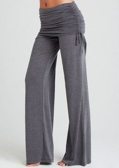 Ruched wide leg pant