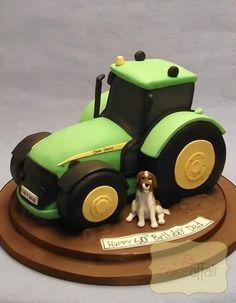 Cake Affair - John Deere Tractor - Hand carved John Deere tractor with dog. Tractor Birthday Cakes, 4th Birthday Cakes, Dog Birthday, Tractor Cakes, Little Boy Cakes, Cakes For Boys, Confirmation Cakes, Farm Cake, Fondant Toppers