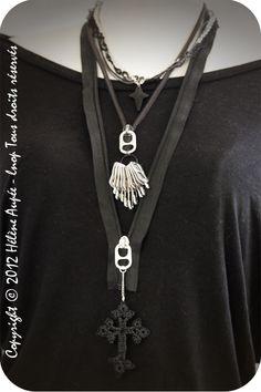 collier languette de canette et zip noir Punkadonna