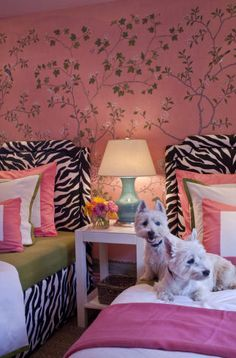Suzie: Grant K. Gibson - Girly pink & purple bedroom design with pink walls, tree mural, zebra ...