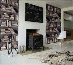 Combos #books #shelf #bookshelf #wallpaper #trompe l'oeil #optical #illusion #interiors #decor
