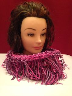 Pink and Purple Fringy Cowl $20.00, Available to order email homemadehatsandmore@gmail.com or go to my Facebook page Homemade Hats and More By Kalli