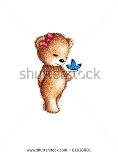 Cute teddy bear with a butterfly on white background