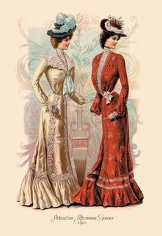 Attractive Afternoon Gowns Giclee on canvas Victorian Era Fashion, 1900s Fashion, Vintage Fashion, Edwardian Era, Edwardian Clothing, Victorian Life, Victorian Steampunk, French Fashion, Historical Costume