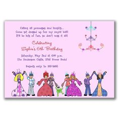 Royal Ball Invitations for Kids Birthday Party by milelj on Etsy, $20.25