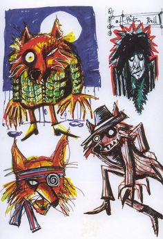 """Noel Fielding: """"When I was quite young, I did a painting of a cat phoning the fire brigade and an old lady stuck up a tree."""" The Mighty Boosh Pablo Picasso, Noel Fielding Art, Noel Fielding's Luxury Comedy, Art Alevel, The Mighty Boosh, Fox Art, Animal Heads, Woodland Creatures, Graphic Illustration"""