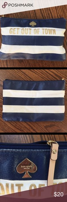 """Kate Spade """"Get Out Of Town"""" Clutch Loved Kate Spade clutch. The blue has been worn down in a few places but no major damage. There are minor scratches on the Spade but the zipper and inside is clean (no stains). Make me an offer!! kate spade Bags Cosmetic Bags & Cases"""