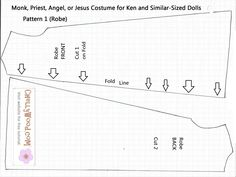 Catholic priest costume doll pattern fits Ken dolls. This website also has a how-to-make-it video.