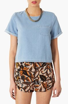 Topshop Moto Denim Pocket Tee | Nordstrom