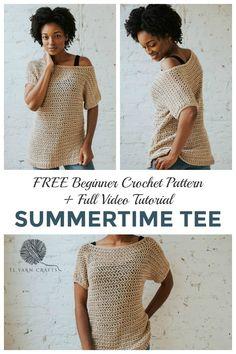 The Summertime Tee, a Breezy Modern Crochet Top - TL Yarn Crafts Make the Summertime Tee today, a FR Mode Crochet, Bag Crochet, Crochet Shirt, Crochet Woman, Crochet Clothes, Crotchet, Crochet Edgings, Freeform Crochet, Crochet Cardigan
