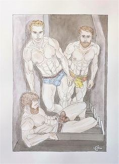"""Three Bulges by Galean.art is Watercolor and black ink - """"Canson"""" heavyweight paper, medium grain. Size in - cm) Queer artist website Watercolor Pencils, Watercolour Painting, Grain Size, Drawing Studies, Cotton Canvas, Ink, Website, Medium, Gallery"""