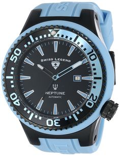 Swiss Legend Men's 11818A-BB-01-BBLS Neptune Automatic Black Dial Light Blue Silicone Watch -- Find out more about the great watch at the image link.