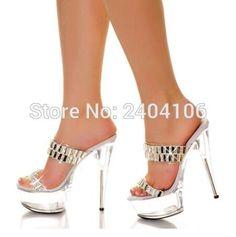 72.25$  Buy now - http://ali2oo.worldwells.pw/go.php?t=32731224561 - 2016 Women Shiny Crystal Rhinestone Sandals 15CM Perspex High Heel 5CM Clear Transparent Platform Women Wedding Shoes 72.25$
