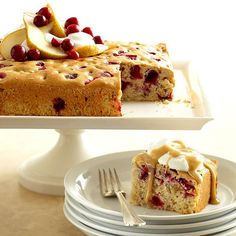 Cranberries and pears combine in this cinnamon-spiced cake. More fabulous fall cake recipes: http://www.bhg.com/recipes/desserts/cakes/fall-cake-recipes/?socsrc=bhgpin082012WalnutCake#page=9