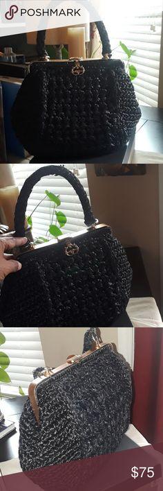 42f8ab3d66f3 Vintage Italian Made Black Straw Handbag Stylish, Dressy, Casual Italian  Straw Beautifully maintained Top
