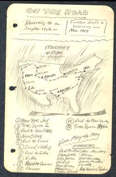 Manuscript map for On The Road by Jack Kerouac Jack Kerouac, Allen Ginsberg, Writers And Poets, Writers Write, Book Writer, Book Authors, Beatnik Style, Commonplace Book, Beat Generation