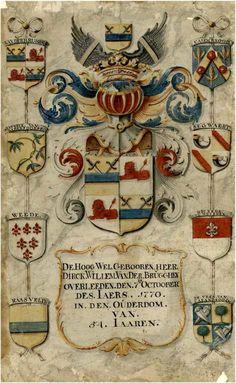 Wapen met 8 kwartieren van Dirck Willem van der Brugghen, geb. 1777 en overl. 07-10-1770. Op de afbeelding de wapens van Van der Brugghen, Rijsweijk van Barendsdorff, Weede, Raasveld, de Casembrood, Segwaert, Wickede van Weijeren en De Veer van Calandsoog. 1770