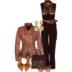 """Jumpsuit Maroon&Tan"" by hollyhalverson on Polyvore"