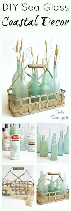 DIY coastal / beach decor is as easy as raiding your recycling bin and repurposing your glass bottles and jars! Special spray paints and frost etch effect paint transform them into stunning, gorgeous sea glass bottles! Super easy DIY upcycle craft project that anyone can do and the results are stunning- perfect way to celebrate summer! #SadieSeasongoods / www.sadieseasongoods.com