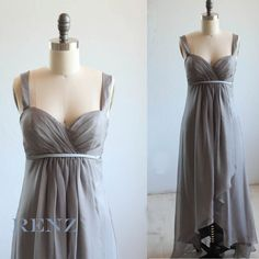 Charcoal gray bridesmaid dress  sweetheart chiffon by RenzRags, $98.00